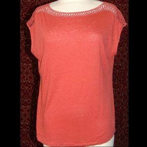 ANN TAYLOR LOFT orange cap sleeve blouse L